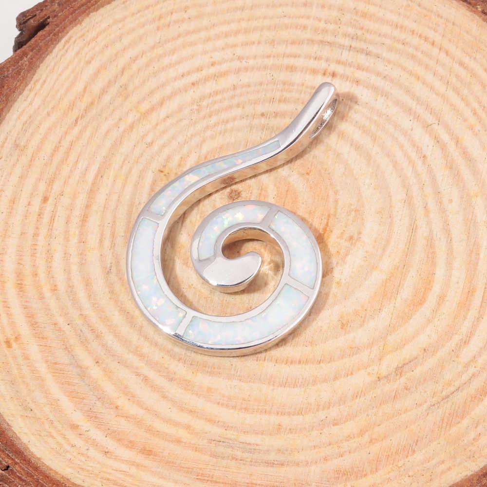CiNily utworzono niebieski i biały ogień Opal spirala srebrny Plated Wholesalel moda dla damska biżuteria na prezent wisiorek OD7044-45