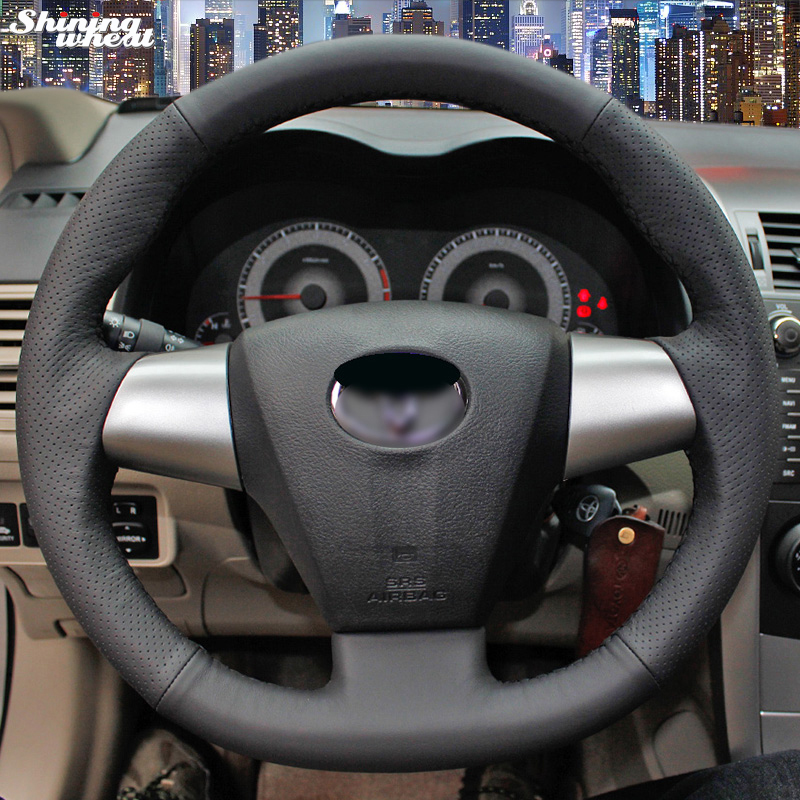 Shining wheat Hand stitched Black Leather Steering Wheel Cover for Toyota Corolla RAV4 2011 2012 Car