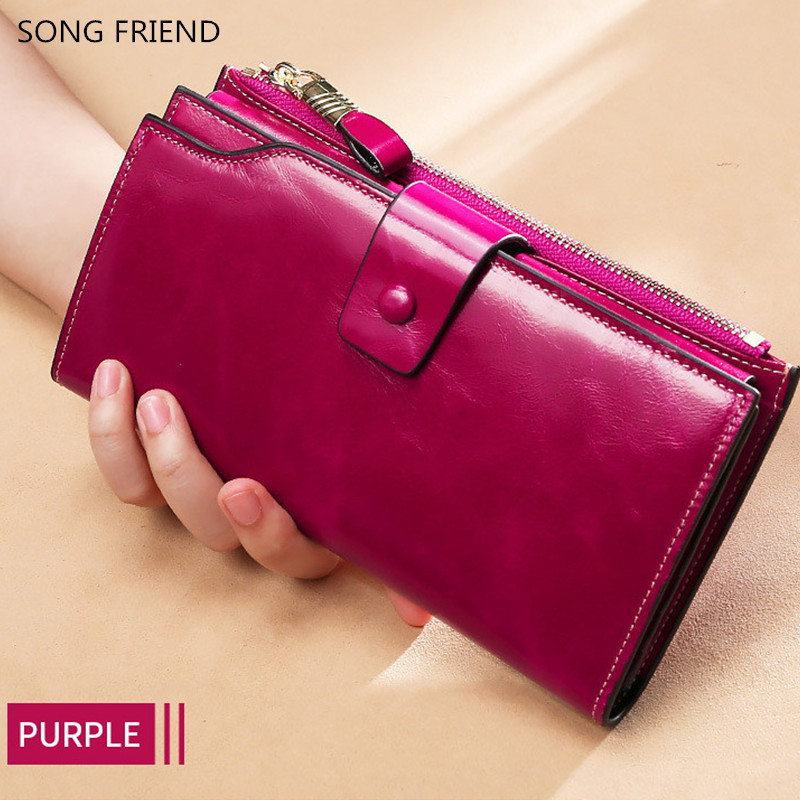 SONG FRIEND 2019 New Type RFID Anti-theft Brush Head Layer True Leather Wallet Woman Oil Wax Leather Large Capacity Handhold Wal image