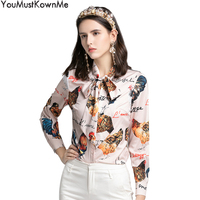 2019 summer animal print blouses fashion woman blouses plus size 3XL rooster print tops and shirts long sleeve bow tie office