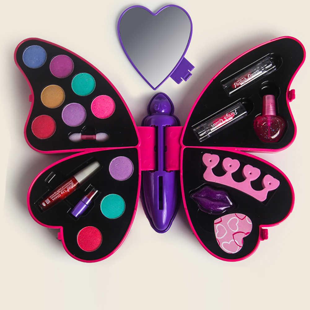 Mädchen Pretend Spielen Für Kinder make-up Kit Spielzeug Prinzessin Mädchen Schmetterling Form Machen up Set Lippenstift Lidschatten Kosmetik Für kinder Mädchen