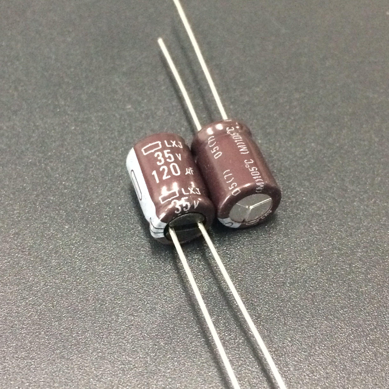 10pcs/100pcs 120uF 35V NCC LXJ Series 8x11.5mm Low Impedance Long Life 35V120uF Aluminum Electrolytic Capacitor