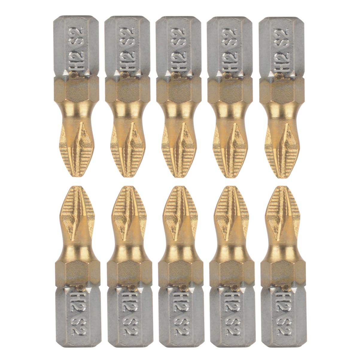 10pcs 25mm 1/4inch PH2 Magnetic Screwdriver Bits Shank Titanium Coated Screwdriver Bits Electric Drill Bits Power Tools 10pcs ph2 2a 3a 5aplasterboard positioning drill gypsum board phillips screwdriver bits 25mm