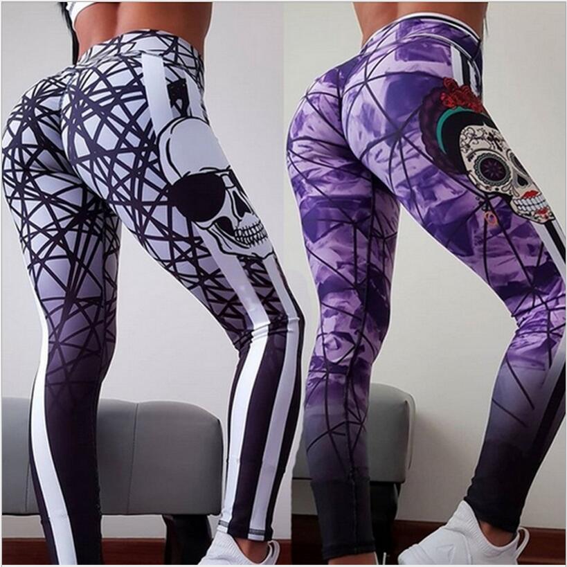 New Arrival   Leggings   Women's Skull Head   Leggings   Digital Print Pants Athletic Trousers Stretch Skinny Girls Push Up Length Pants