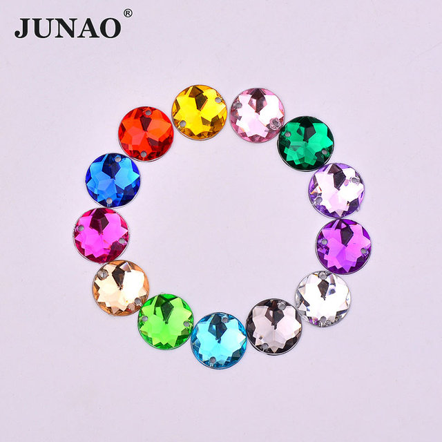 JUNAO 12mm Sewing Crystal Flat Back Rhinestones Glue On Round Strass  Crystal Stones Acrylic Gems For Jewelry Dress Crafts 87ac8f707d18