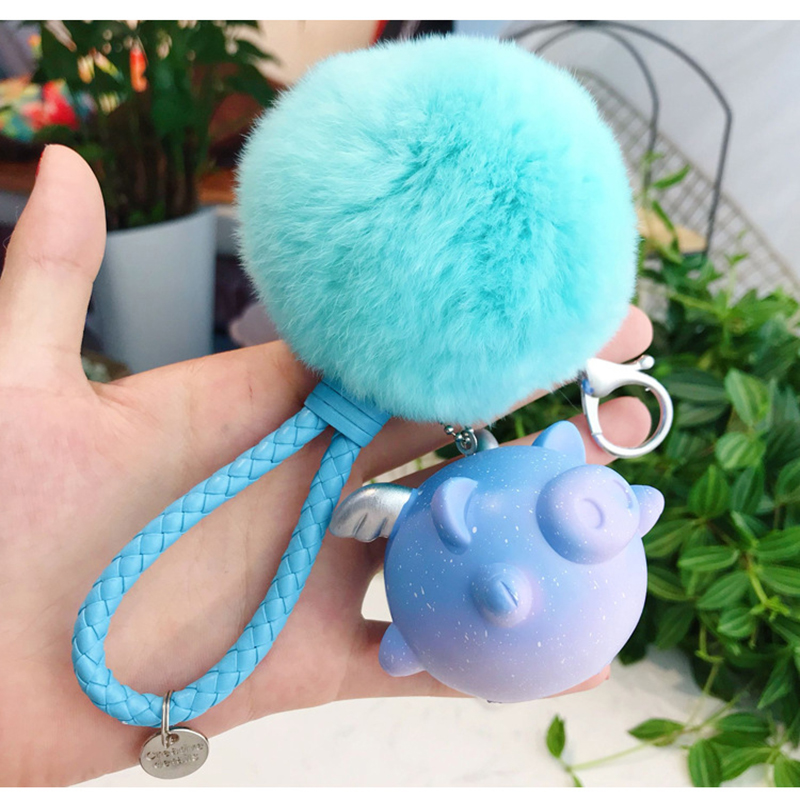 cute dream vocal star small flying pig keychain for men and women bag key chain ring bell pendant in Key Chains from Jewelry Accessories