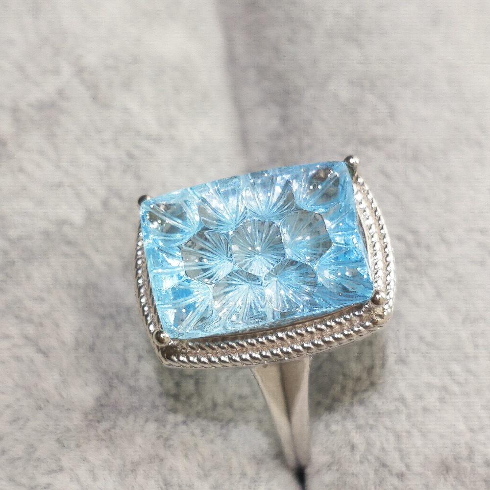 FLZB Fashion jewelry Finger Ring setting with natural sky blue topaz honeycomb cut 8 5ct high