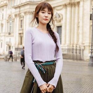 Image 1 - אינמן אביב סתיו עגול צווארון Stripped כושר נשים ארוך שרוול לסרוג סוודר חולצות