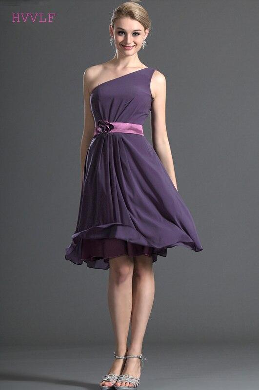 Purple 2019 Cheap   Bridesmaid     Dresses   Under 50 A-line One-shoulder Chiffon Knee Length Backless Wedding Party   Dresses