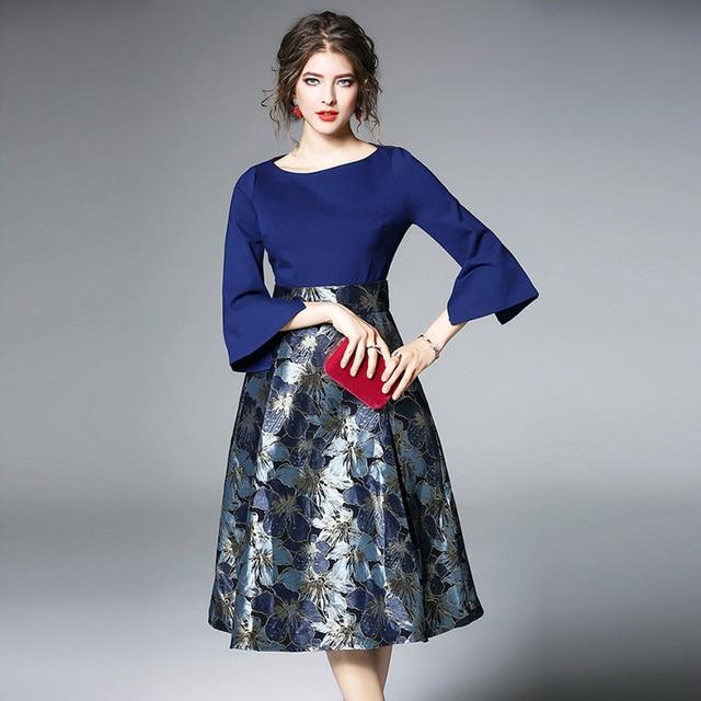 Bonnie Thea Autumn women's midi dress elegant blue Jacquard dress female long Sleeve ladies dresses Evening party dress clothes 2