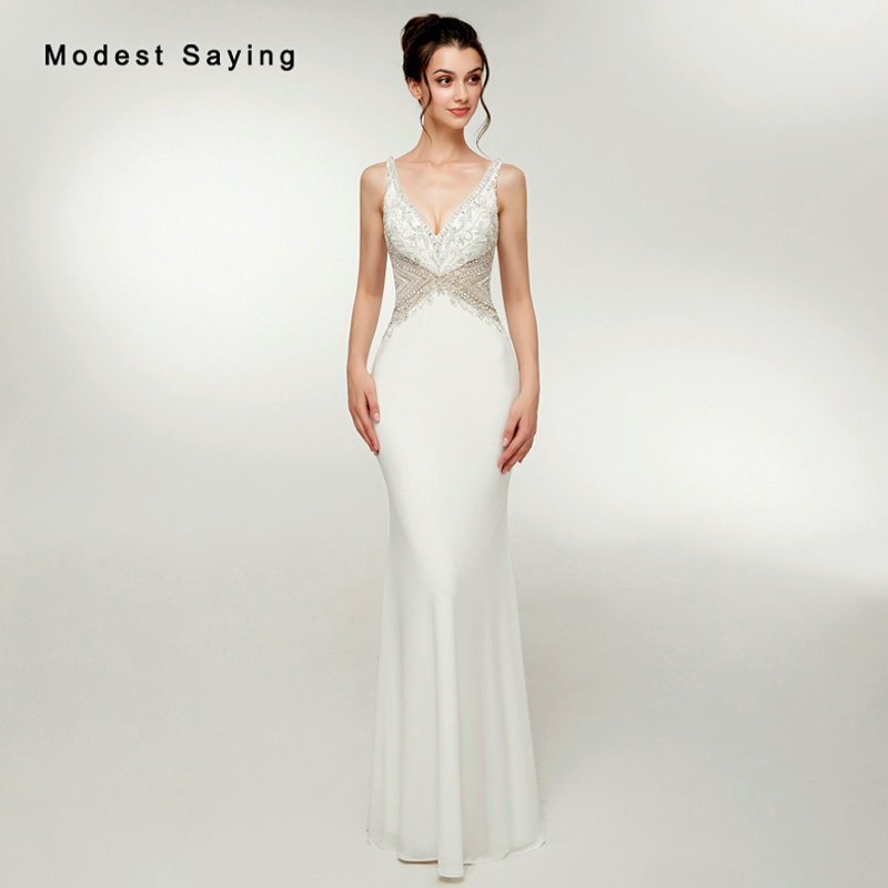 Luxury Mermaid Plunging Neck Beaded Sparkly Evening Dresses 2018 with  Rhinestone Sexy Backless Formal Women Party 6250470ef908