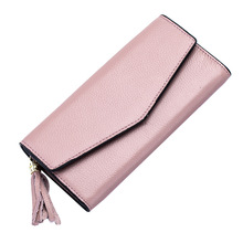 Fashion Women Genuine Leather Envelope Wallets Cowhide Hasp Clutch Bag Purse For Ladies Long Money Pouch