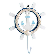 Mediterranean style coat hook blue and white old wooden hand-painted home decoration rudder wrought iron