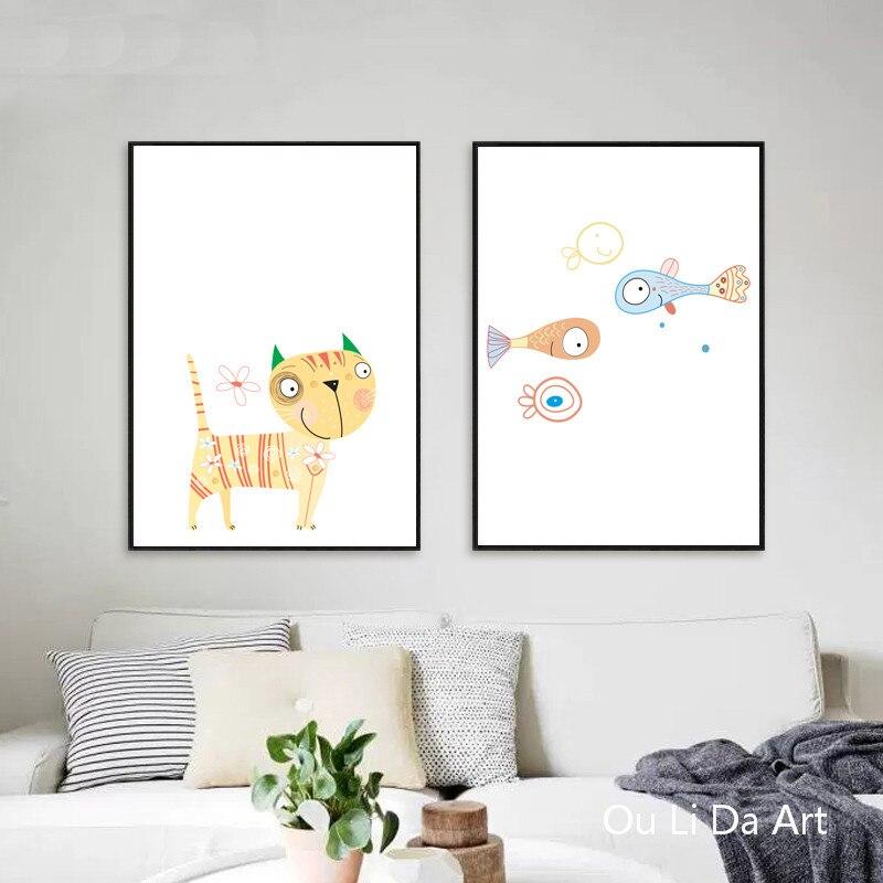 Tienda Online No marco moderno de dibujos animados gato pescado ...