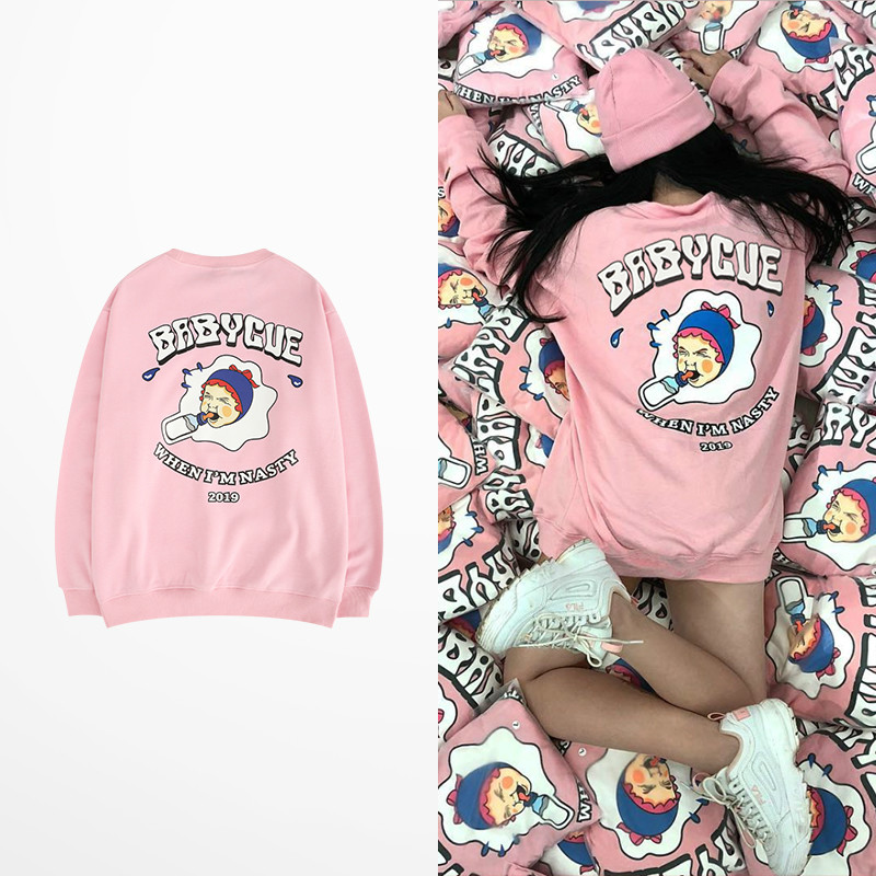 New Arrive 2019 European And American Tide Hoodies Cartoon Bear Punk Drake Pink And Khaki Fashion Sweatshirt Skateboard Kanye Men's Clothing