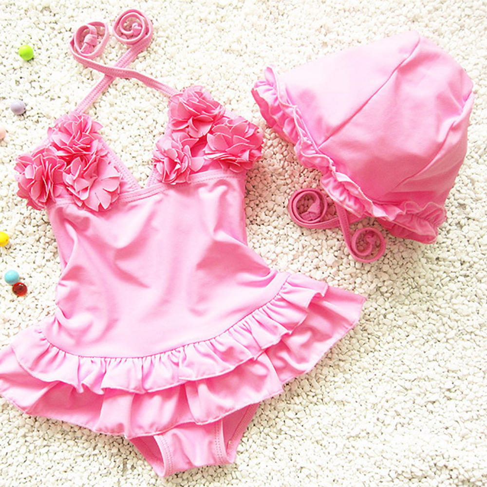 de2367565 ... 2pcs Baby Girls Swimwear Kids Swimming Bikinis Siamese skirt type swimsuit  one piece lace sweet Bathing ...
