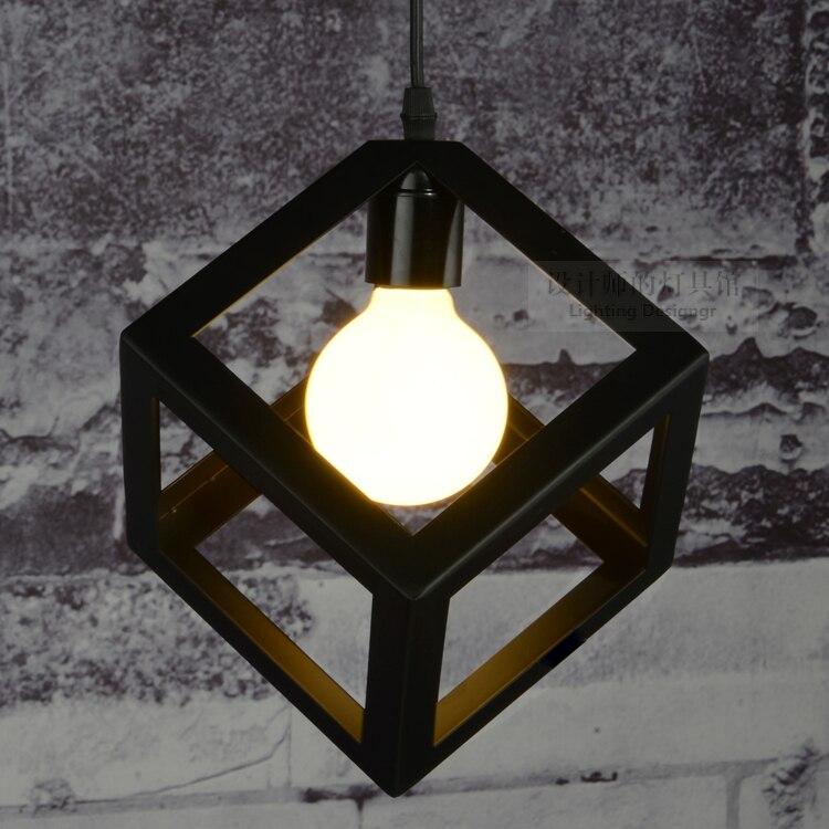 ФОТО Cube iron black  creative pendant lights vintage restaurant lamp bedroom pendant light foyer pendant lamps