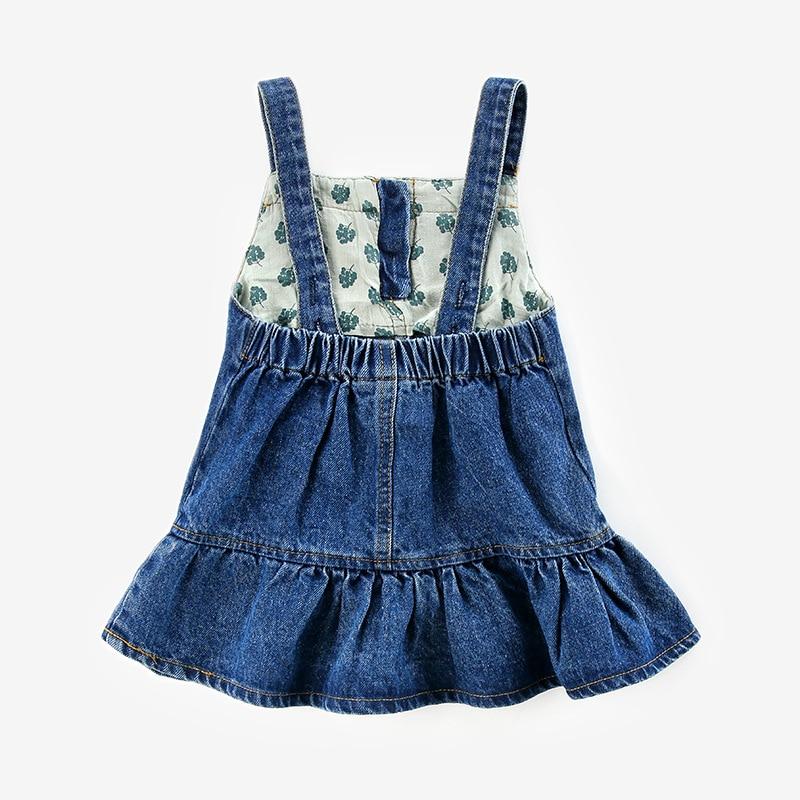 Denim Dress 2018 Brand Summer Girls Dress Cartoon Rabbit Baby Girls Clothing Print Children Clothes Jeans Kids Dresses For Girl