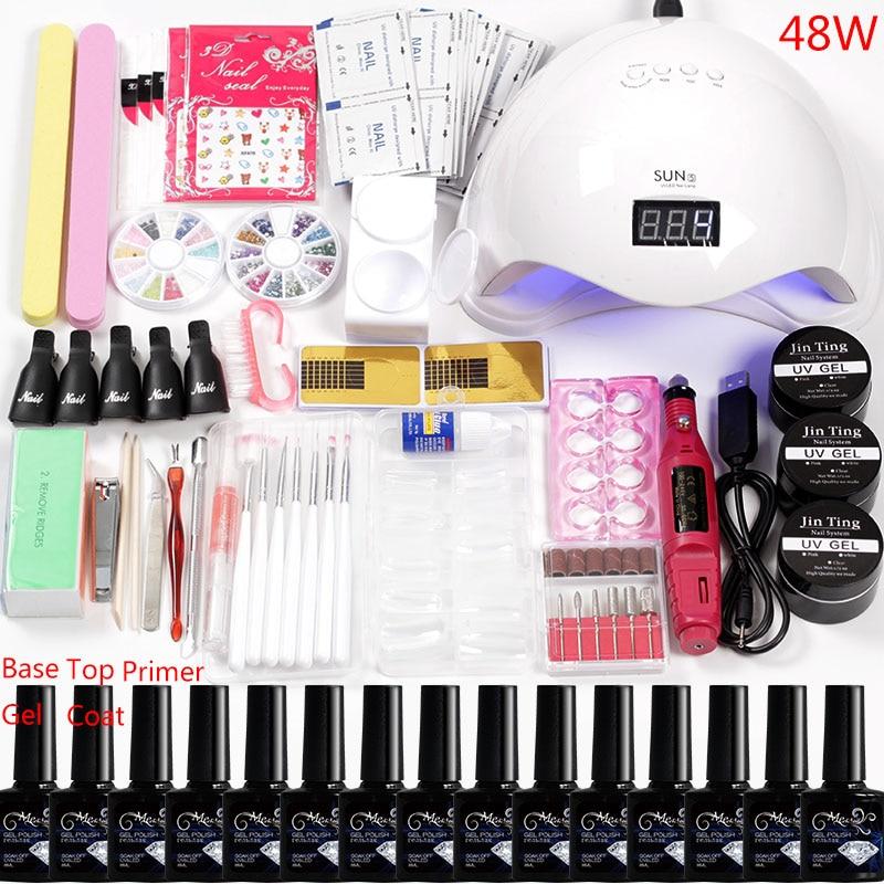 Manicure Set 36W/48W/80W Led Uv Nail Lamp 12 Color Acrylic Nail Kit Gel Varnish Polish Extension Set Nail Drill Bits Handle Kit