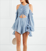 2018 NEW blue Navel strapless fold Repair the body Broad leg sexy Jumpsuit silk Skirt pants Sandy beach