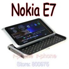 원래 노키아 E7 휴대 전화 잠금 해제 3G 와이파이 스마트 폰 단장 한 터치 스크린