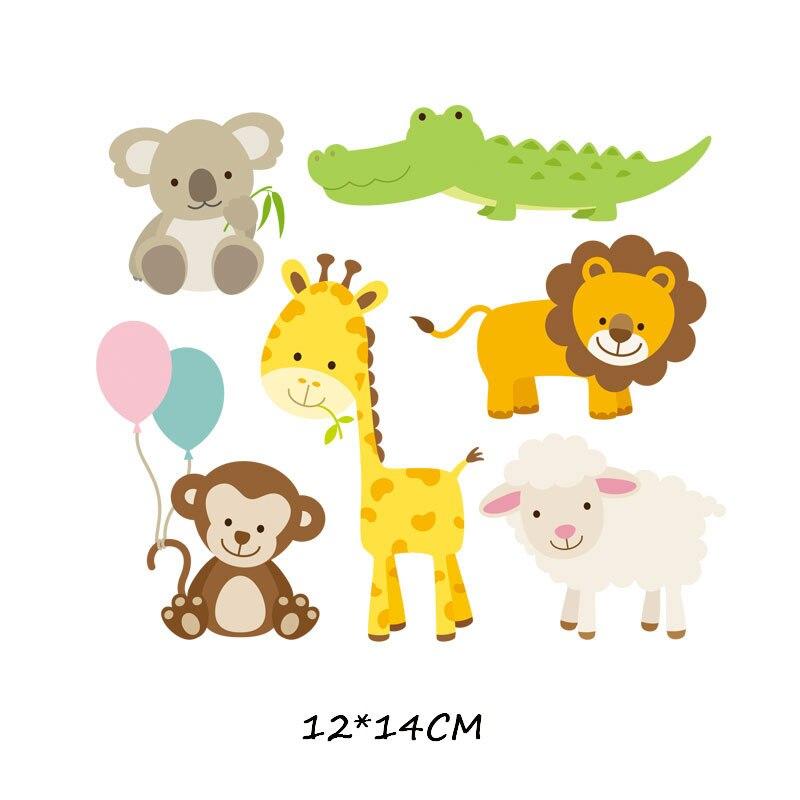 Железные милые нашивки в виде животных набор для детей Одежда DIY Футболка аппликация теплопередача виниловая нашивка единорога наклейки термопресс - Цвет: 828