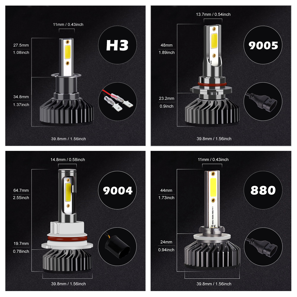 HTB1lOKFXED1gK0jSZFGq6zd3FXas Infitary Car Headlight H7 LED H4 LED H1 H11 H3 H13 H27 880 9006 9007 72W 8000LM 6500K 12V 24V Auto Headlamp COB Fog Light Bulb