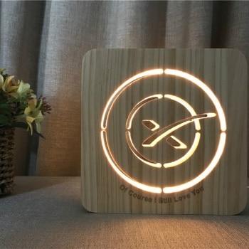 Luz personalizada de madera LED iluminación 3D luz de noche lámpara de decoración del hogar con alimentación USB luz de noche decorativa vacaciones IY801101-97