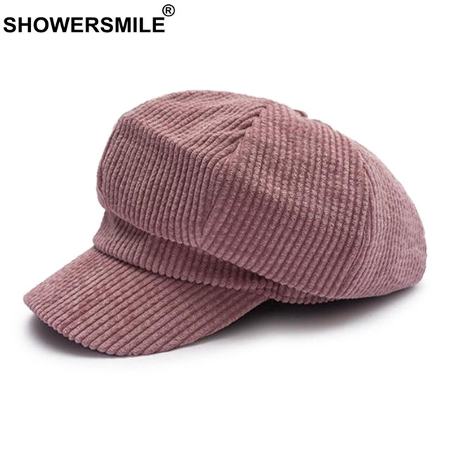 SHOWERSMILE Women Newsboy Hat Pink Corduroy Caps Ladies Vintage Casual  Painter Caps Female Solid Autumn Flat Caps Fashion 2018 9170edc53a6e