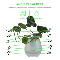 ABS Smart Music Flower Pots Bluetooth Speaker Play The Piano Decoration Planter Night Light Touch Sensors