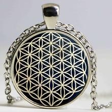 Flower of Life Pendant Necklace dingyi 2017 New Fashion Round Glass Necklace Flower of Life Vintage Glas Necklace Pendant HZ1
