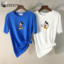 2019 Summer T Shirt Women Mickey Minnie Mouse Tshirt Cartoon Graphic Printed Tops O-Neck Loose Short Sleeve Tee Shirt Plus Size недорого