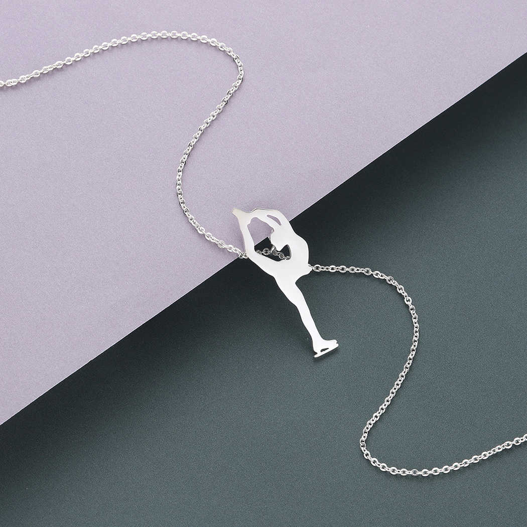 Cxwind Ice Skating Woman Pendant Necklace for Women Simple Female Figure Shape Chain Necklaces Collier 2018 Jewelry Wholesale
