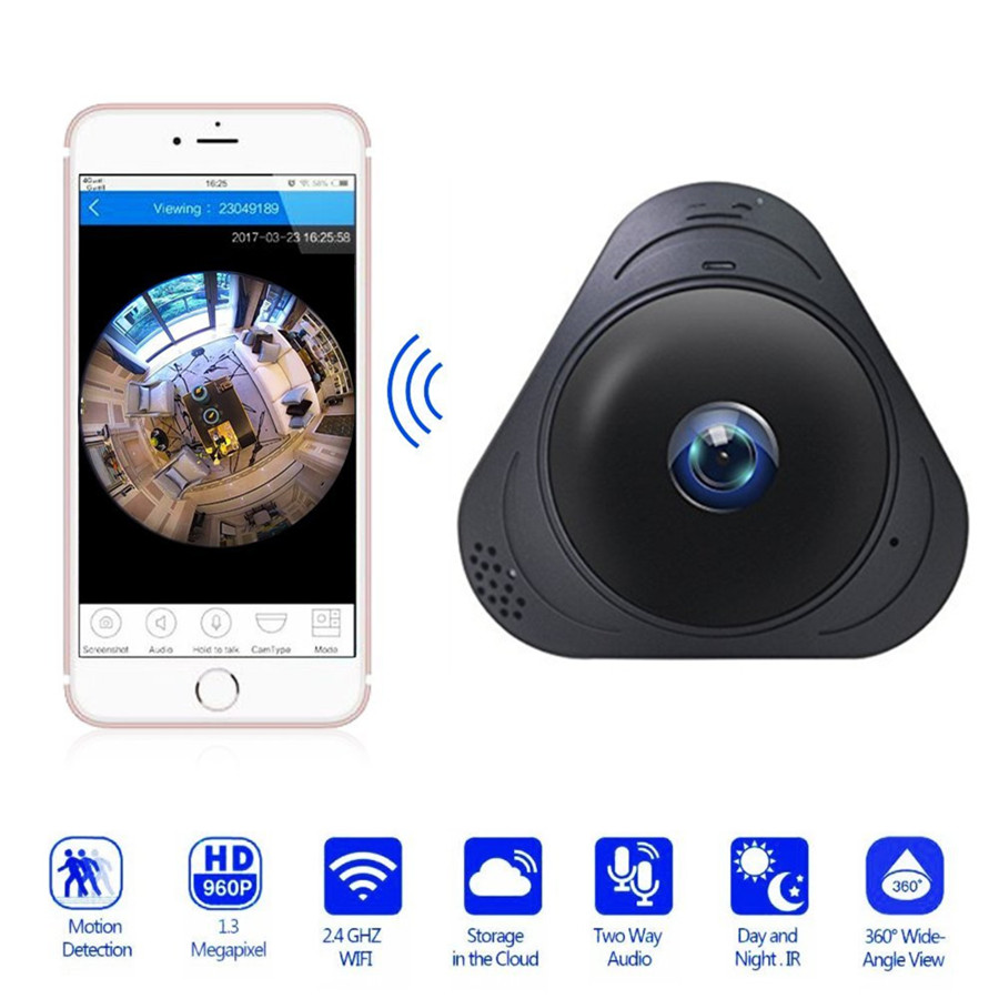 ZILNK 360 Panoramic Surveillance IP Camera Fisheye 960P Wireless Wifi Security Camera Super Wide Angle IR Night