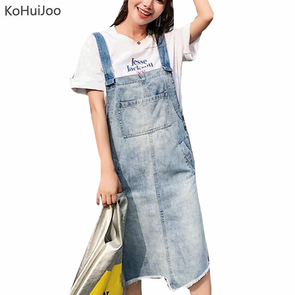 KoHuiJoo Preppy Style Denim Skirts Women High Quality Fashion Pockets Irregular Back Slit Cute Female Sleeveless Dresss for Girl