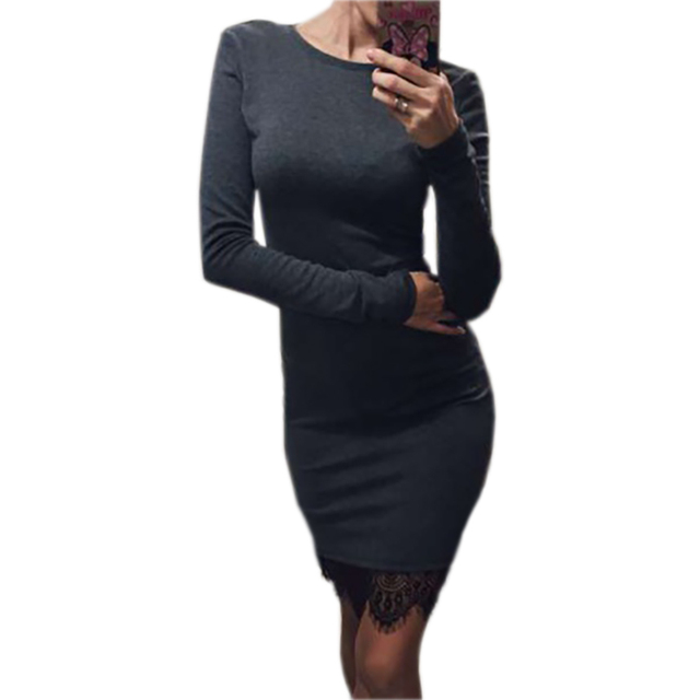 2017 Women Casual Dress Fit Ladies Elegant lace solid bodycon dress Christmas evening party long sleeve winter dress LX067 2