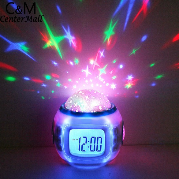 LED Lamp Romantic Rotating Star Moon Sky Rotation Night Projector Light Lamp With Music Alarm Clock With Calendar Thermometer rotation starry star moon sky romantic night projector light lamp pink