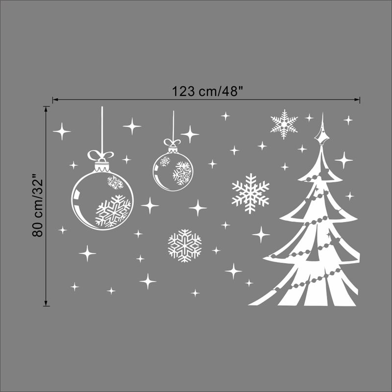 Merry Christmas Trees Snowflakes Quotes Decorative Wall Stickers Vinyl Shop Store Window Glass Decals Xmas Festival Mural Poster