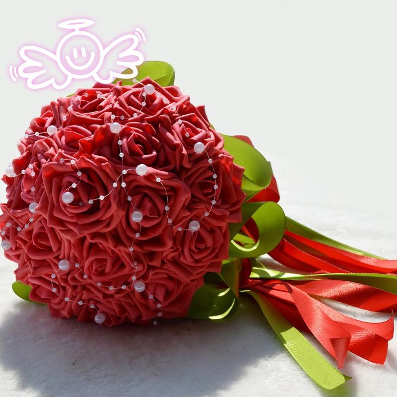 Wedding Flowers Bridal Bouquet PE Rose Artificial Flower Bouquets Wedding Decorative Bridesmaid Flower Bouquet Crystal Pearl