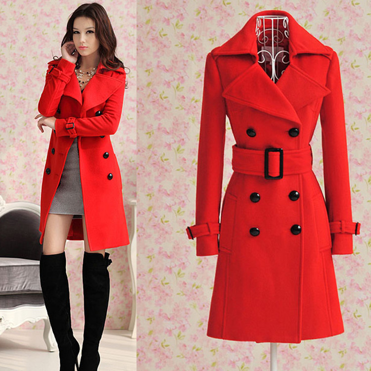 Free Shipping New Red Double Breasted Long Winter Overcoat ...