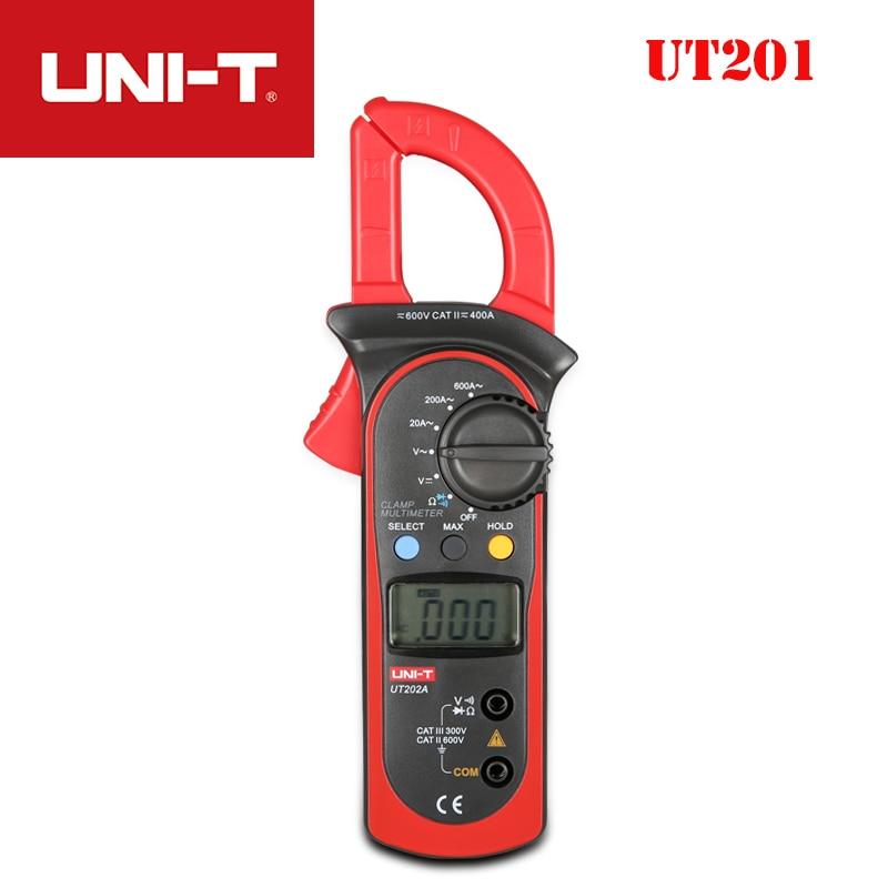 UNI-T UT201 UT202 UT202A Braçadeira Multímetro Digital Volt Amp Ohm Diode DC Voltímetro Medidor de Corrente AC Resistência Multi Tester Probe