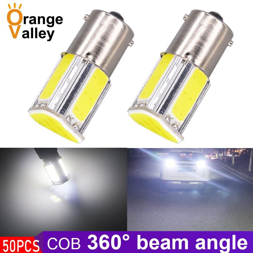50Pcs Wholesale 1156 BA15S P21W Car 4 COB LED Turn Signal Lights Daytime Running Lamps Backup