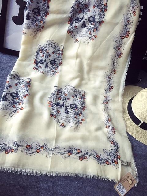 180x100cm Skull Cotton Designer Scarf Women Scarves Bufandas Shawl Hijab Foulard Cape Echarpe Poncho Shawls And Scarves SF0298