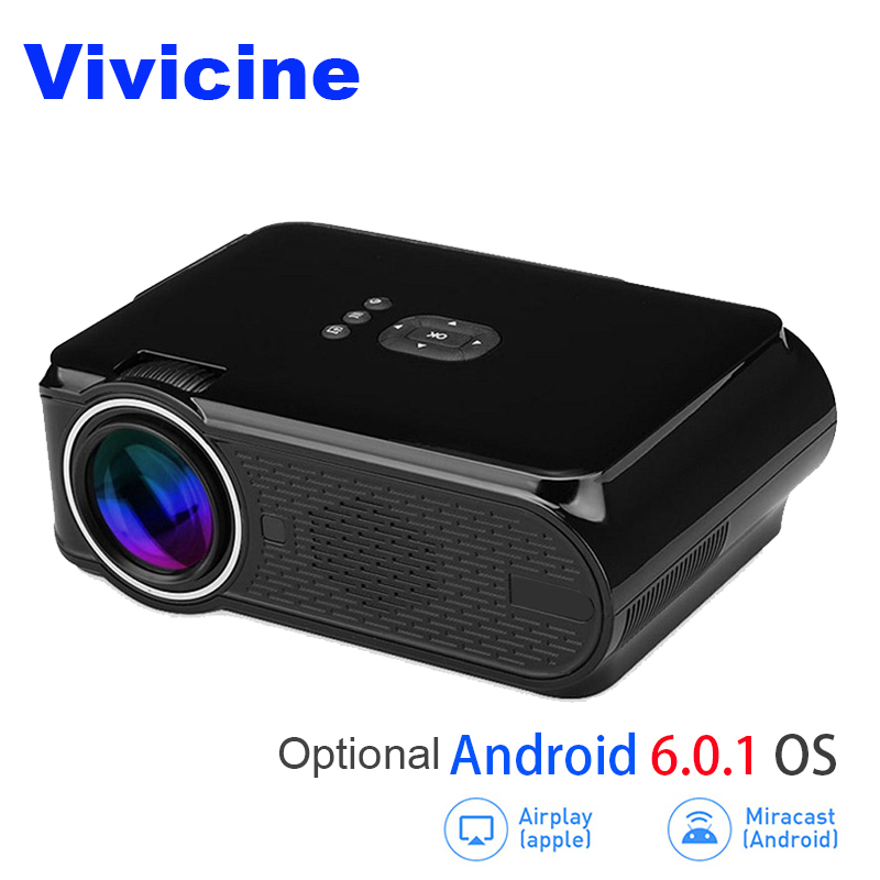 Vivicine Portable Mini LED Projector,Optional Android 6.0 Miracast DLNA Airplay Wireless WIFI Handled Movie Game Home Proyector цена и фото