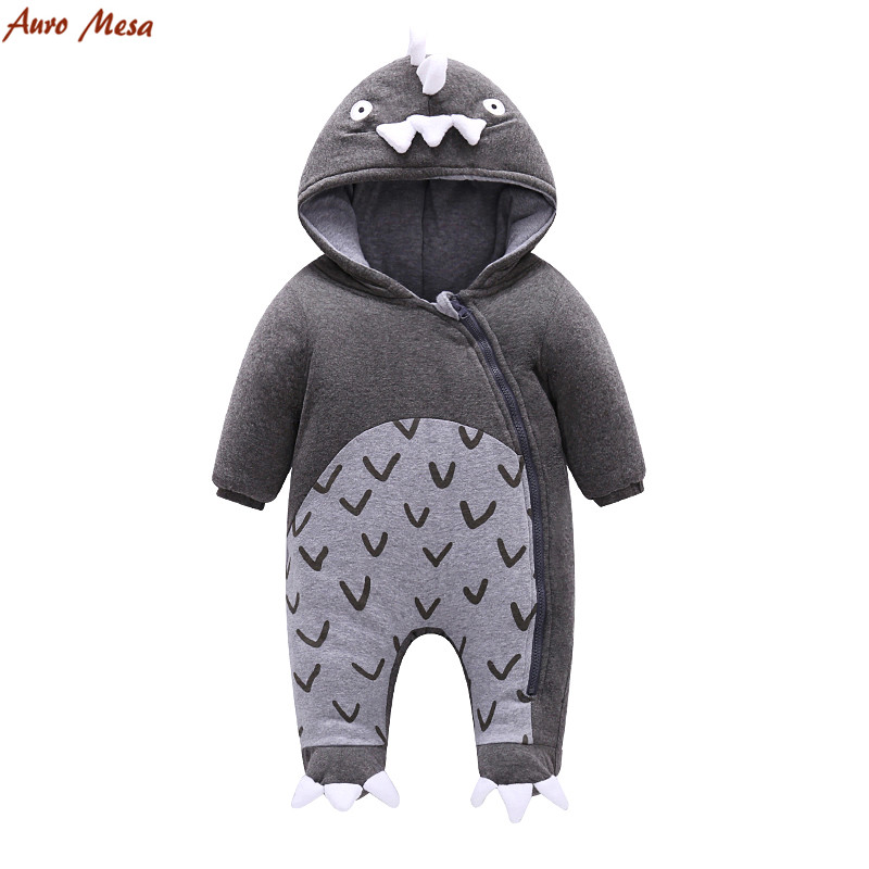 Cute Dinosaur Baby Winter Romper  Wool Hooded Jumpsuit Warm Thick Infant Boys Coverall Clothes puseky 2017 infant romper baby boys girls jumpsuit newborn bebe clothing hooded toddler baby clothes cute panda romper costumes