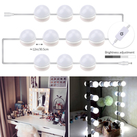 Makeup Mirror Vanity LED Light Bulbs Beauty Decoration Wall Lamps Kit for Dressing Table 10 Bulb Dimmable Touch Switch AC85 265V