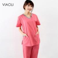 Viaoli 2018 New Summer Short Sleeved Surgical Clothing Men And Women Doctors Suits Split Brush Suit