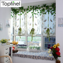 Top Finel Butterfly Tulle for Window Roman Shades Window Curtain Blinds Embroidered Sheer Curtains for Kitchen Living Room Panel(China)