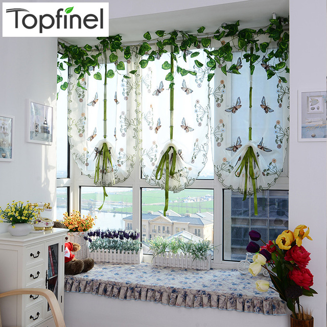 Top Finel Butterfly Tulle for Window Roman Shades Window Curtain Blinds Embroidered Sheer Curtains for Kitchen Living Room Panel