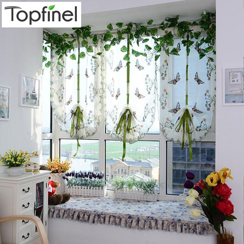 Top Finel Schmetterling Tüll für Fenster Römische Farbtöne Fenster